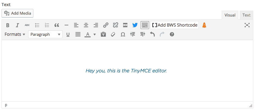 TinyMCE editor in Wordpress