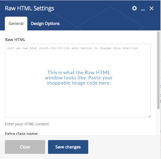 shoppable image HTML RAw code input for visual composer
