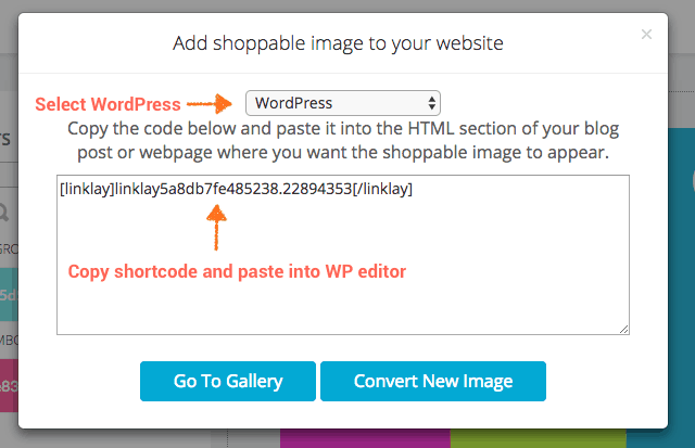 copy wordpress shortcode to embed shoppable images