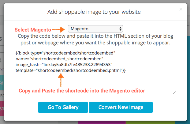 magento shortcode for linklay